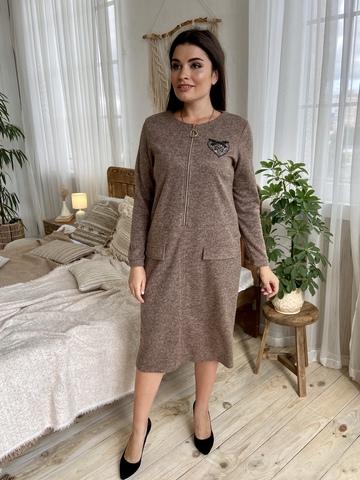 Даяна. Практичное повседневное платье больших размеров. Мокко