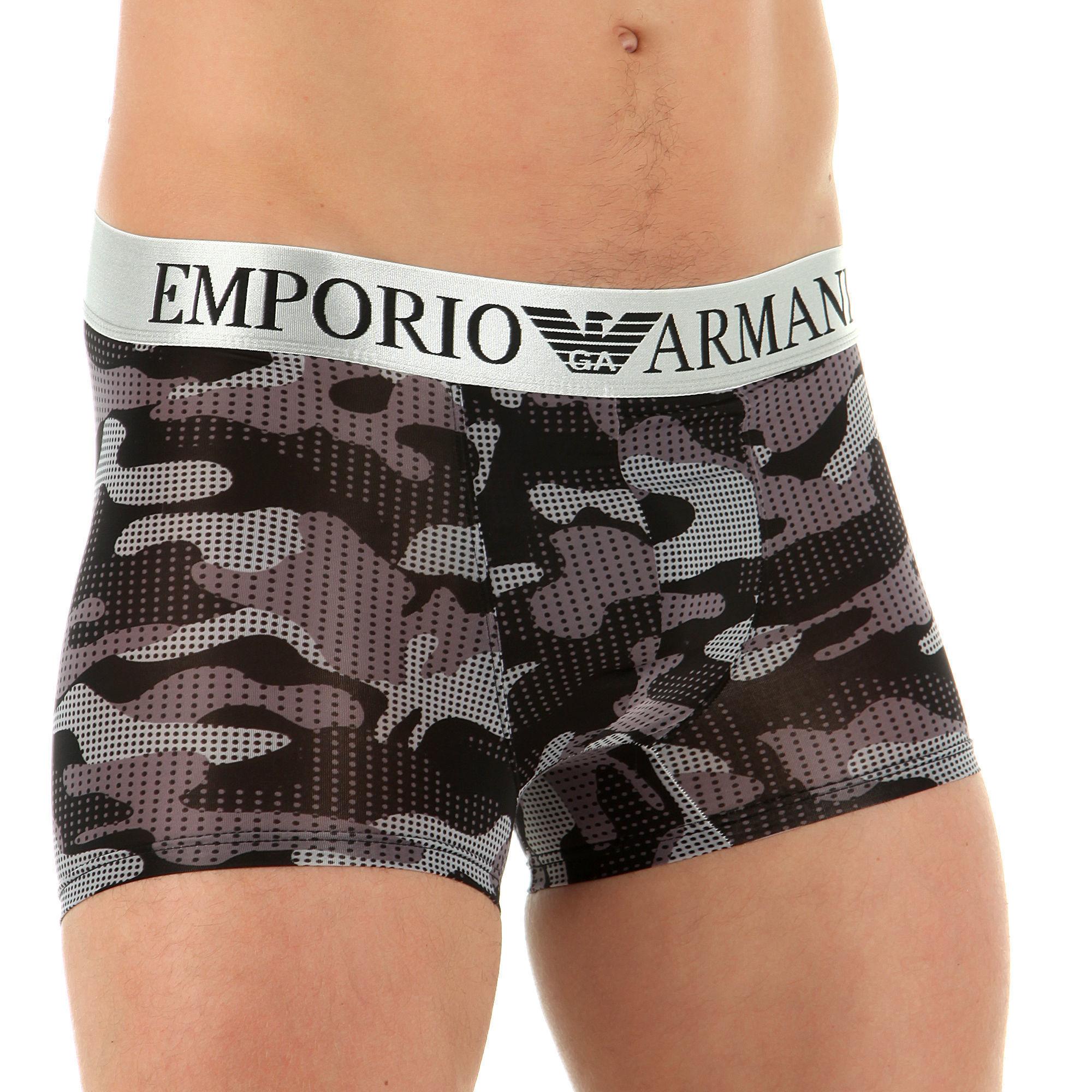 Мужские трусы боксеры черный камуфляж Emporio Armani Camo Black