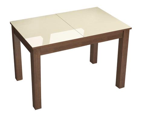 Стол обеденный раскладной Бруно 1100х700 ЛДСП, МДФ ТЭКС орех шоколадный, лакобель ваниль