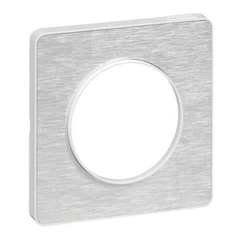 Рамка на 1 пост. Цвет Алюминий martele, белая вставка. Schneider Electric(Шнайдер электрик). Odace(Одес). S52P802K