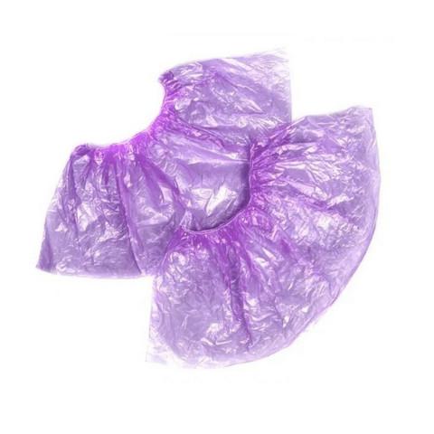 Бахилы одноразовые полиэтиленовые Стандарт 2,8г фиолетовый (50 пар в упаковке)