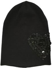 Черная шапочка бини с пуговками Shapkianru