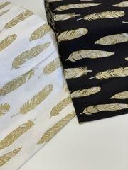 Поплин  глиттер (100%  хлопок). Золотые перья на белом.
