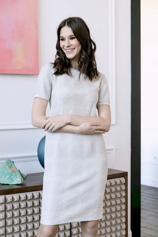 Фото платье с короткими рукавами и трикотажными манжетами - Платье З488-122 (1)