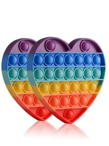 Антистресс игрушка Pop It, сердце, радужный