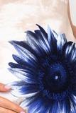 Туника для беременных 07226 бежевый-синий