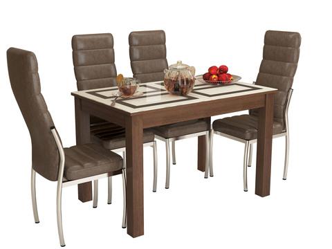 Стол обеденный раскладной Бруно 1100х700 ЛДСП, МДФ ТЭКС орех шоколадный, рисунок плитка