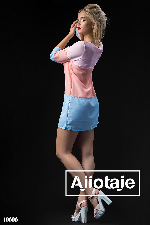 Трехцветное шифоновое платье с круглым вырезом