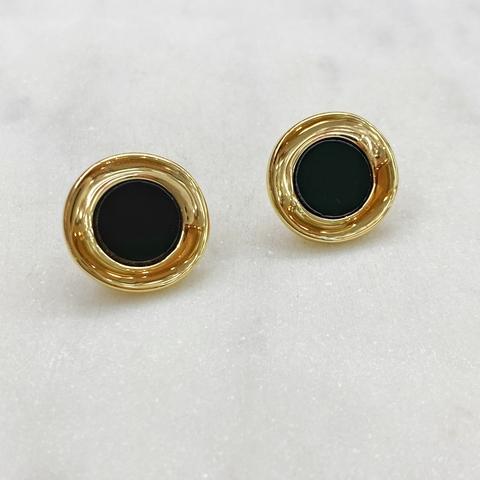 Серьги-кластеры круглые с черной серединой (серебристый)