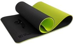 Коврик для йоги Original FitTools 10 мм двухслойный TPE черно-зеленый
