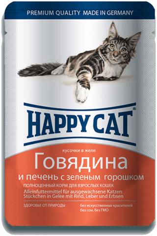 купить Happy Cat Adult Chunks in Jelly Beef and Liver with Green peas пауч (влажный корм) для кошек говядина и печень с зеленым горошком