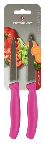 Набор Victorinox кухонный, 2 предмета, лезвие прямое и волнистое, розовый