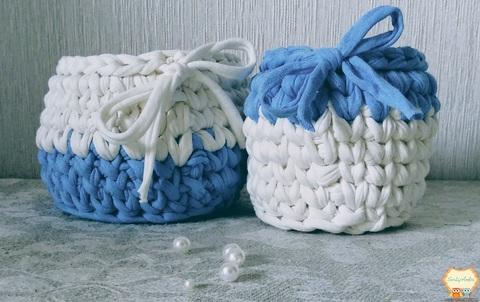 Комплект кошиків біло-блакитні