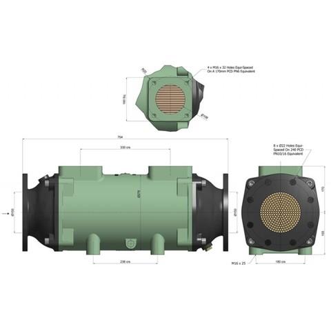 Теплообменник разборный 1055 кВт, трубки купроникель BOWMAN