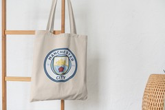 Сумка-шоппер с принтом FC Manchester City (ФК Манчестер Сити) бежевая 001