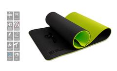 Коврик для йоги Original FitTools 10 мм двухслойный TPE черно-зеленый - 2