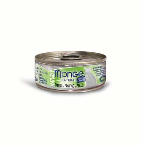 купить консервы Monge Natural Pacific Tuna & Chicken для кошек, с тихоокеанским тунцом и курицей 80 гр
