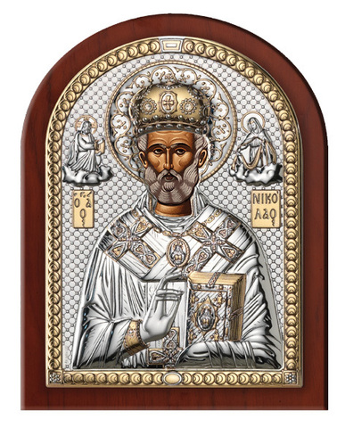 Серебряная икона Святой Николай
