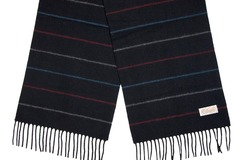 Шерстяной шарф черный полосатый 30461