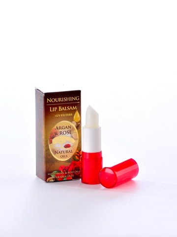 Питательный бальзам для губ с аргановым и натуральным болгарским розовым маслом (помада)