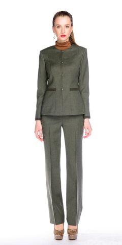 Фото оливковые прямые классические брюки со средней посадкой - Брюки А435-112 (1)