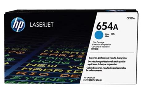 Оригинальный картридж HP CF331A 654A голубой