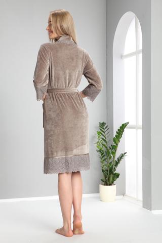Женский велюровый халат 18191 бежевый  NUSA Турция