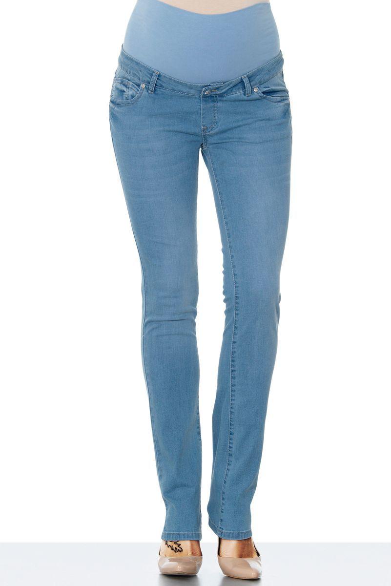 Фото джинсы для беременных EBRU, зауженные, средняя посадка, из стрейчевого денима от магазина СкороМама, голубой, размеры.