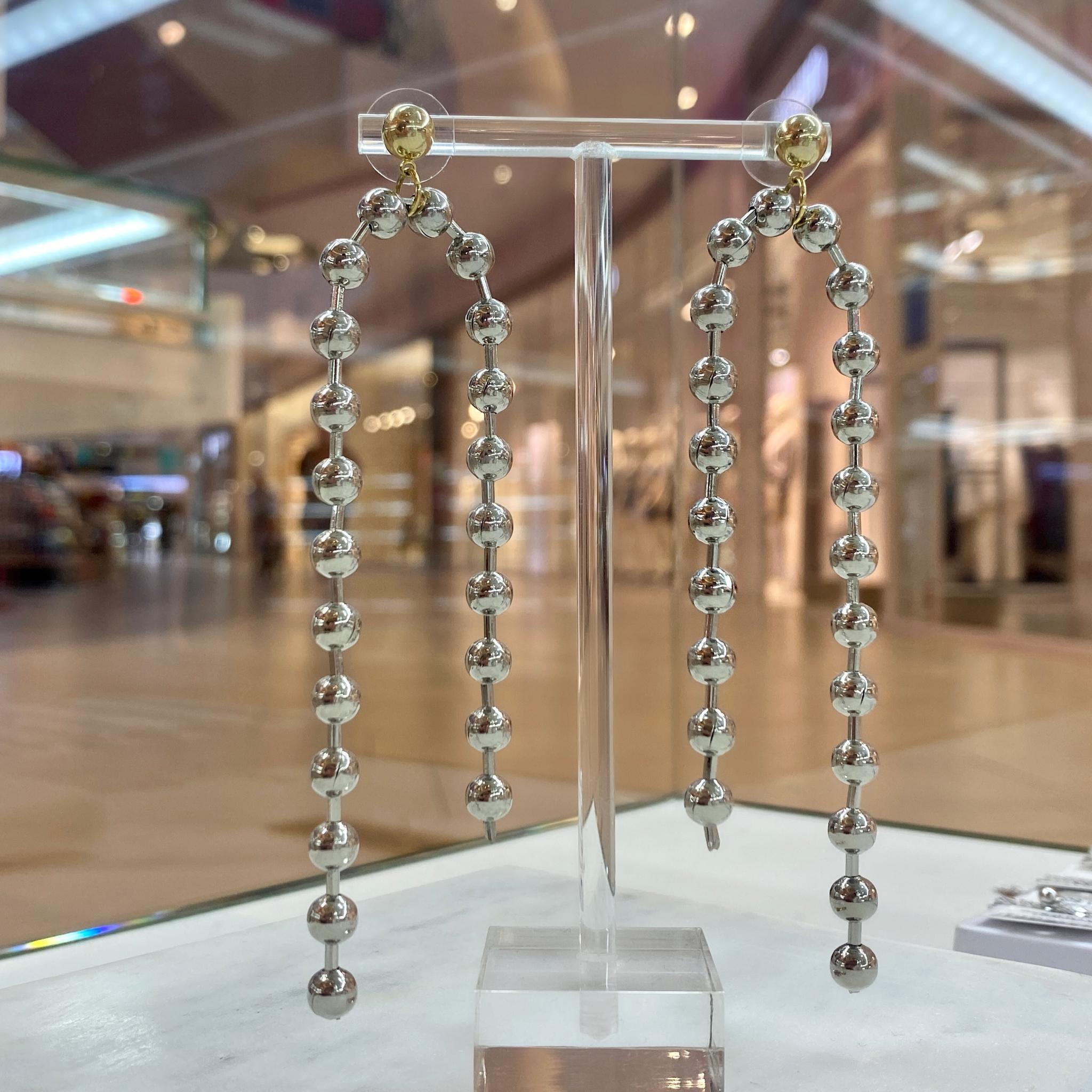 Серьги-цепи из бусин (серебристый) ш925
