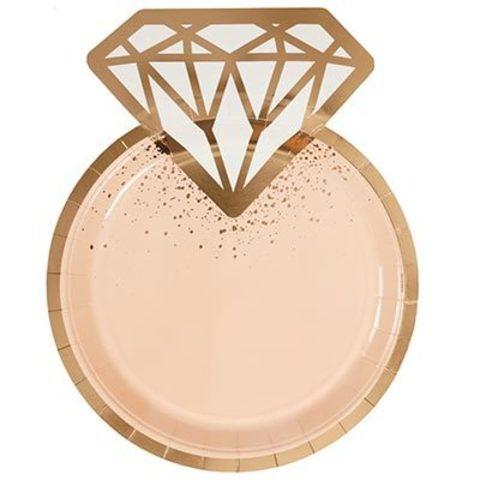 Тарелки фигурные Свадьба Luxe Peach 6шт