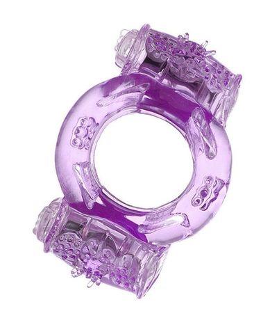 Фиолетовое виброкольцо с двумя вибропульками