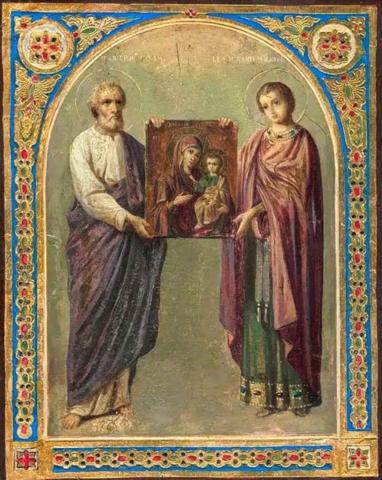 Икона Божией Матери Избавительница со святыми: Симон Кананит и Пантелеймон на дереве на левкасе мастерская Иконный Дом