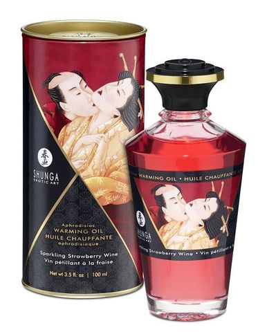 Интимное масло Shunga с ароматом клубничного вина - 100 мл.