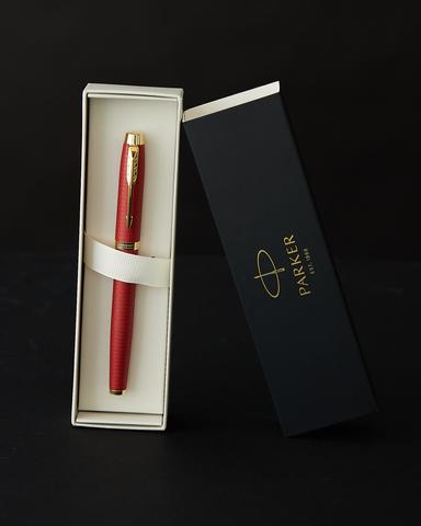 Ручка роллер Parker IM Premium T318  Red GT F черные чернила, в подарочной коробке