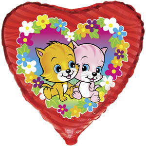 Фольгированный шар Котята в цветах 18