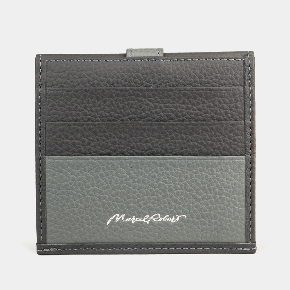 Картхолдер-кошелек Perle Bicolor из натуральной кожи теленка, серого цвета