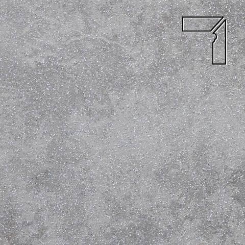 Stroeher - Keraplatte Roccia 840 grigio длина стороны угла 290 артикул 9118 - Плинтус клинкерной ступени правый