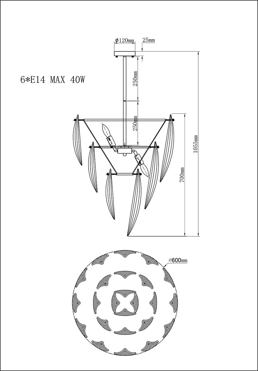 K2KG02P-6G Светильник потолочный 60*70см
