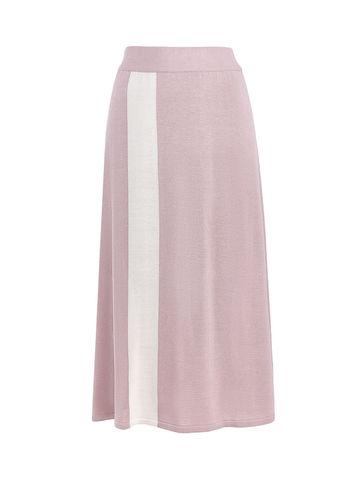 Женская юбка светло-розового цвета с контрастной полосой из шелка и вискозы - фото 1