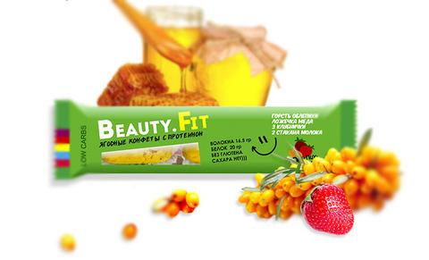 Ягодно-фруктовые конфеты с протеином «Beauty.Fit» Облепиха и Клубника, без сахара