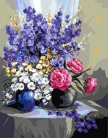 Картина раскраска по номерам 30x40 Букеты цветов на столе (арт. KTL0070)