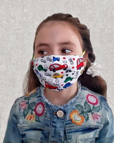 Хлопковая маска для детей «Машинки»
