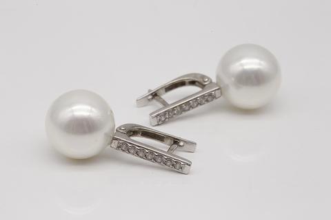 Серьги из серебра с жемчугом и фианитами 52024M1D14