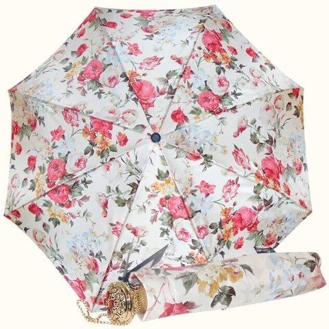 Белый зонт с роскошными розами