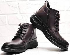Женские осенние ботинки на шнуровке Evromoda 535-2010 S.A. Dark Brown.