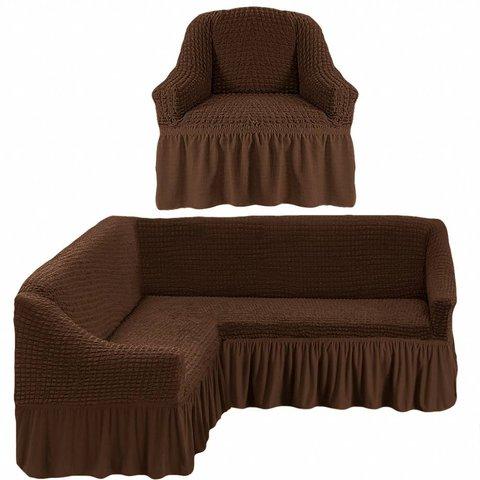 Чехол на угловой диван и кресло, шоколад
