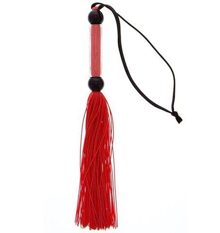 Красная мини-плеть из силикона и акрила SILICONE FLOGGER WHIP - 25,6 см.