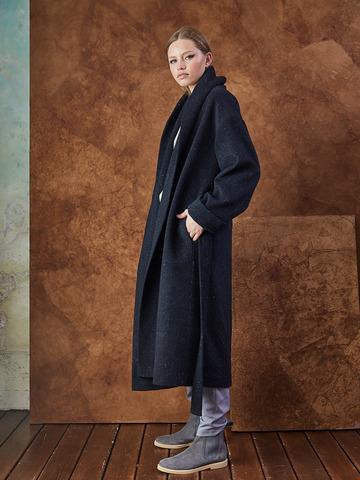 Пальто на поясе из шерсти на подкладке т.синяя елочка