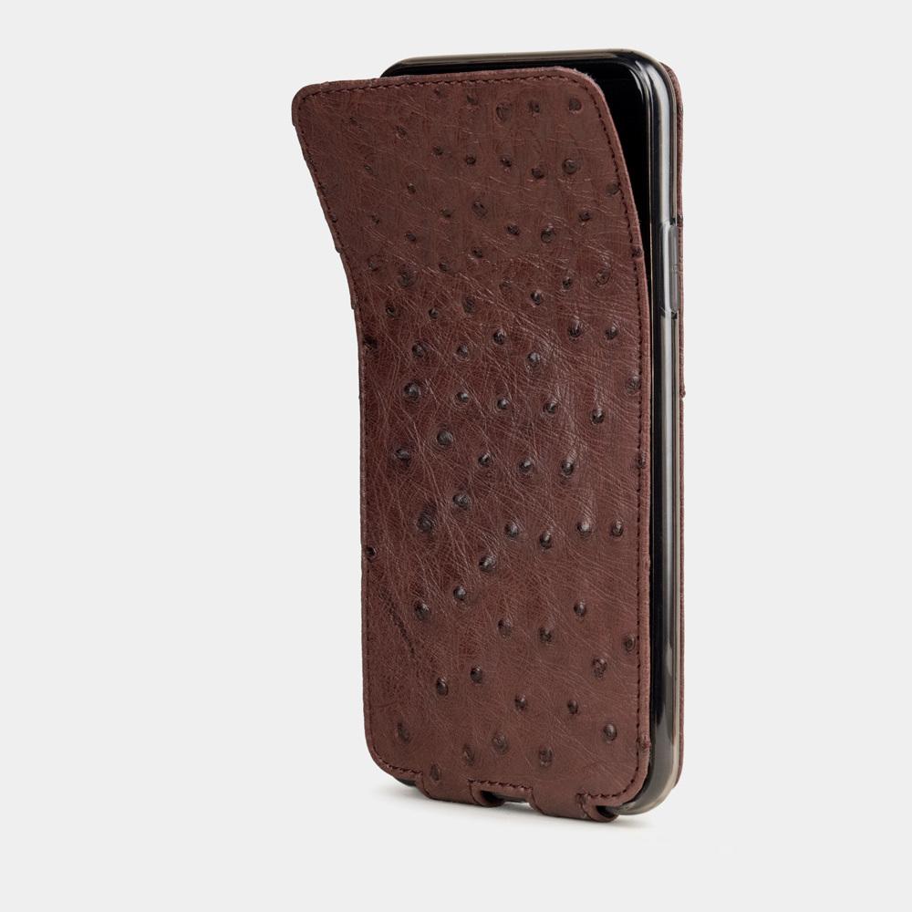 Чехол для iPhone 11 Pro из натуральной кожи страуса, бордового цвета
