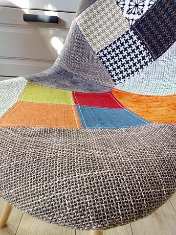 Интерьерный дизайнерский кухонный стул Eames DSW Patchwork Multucolor, пэчворк, мультиколор